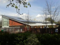 Solar panels on the rooftop of Botley School, owned and managed by Low Carbon Hub