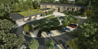 An aerial view of the Wood Centre for Innovation, a 3D illustration.