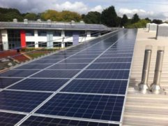 Solar panels on the rooftop of Banbury Academy, owned and managed by Low Carbon Hub