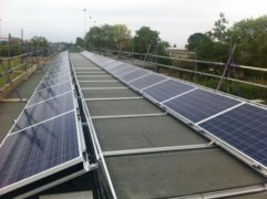Solar panels on the rooftop of Edward Feild School, owned and managed by Low Carbon Hub