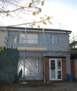 Scaffolding on a home in Middle Barton, during an energy efficiency project