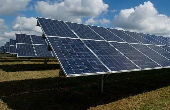 Ground mount solar in a field